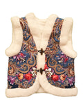 folk merino wool boho kids gilet with floral motif
