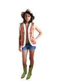 Red boho festival sheepskin gilet, vest with flower motif