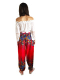 festival boho red harem pants
