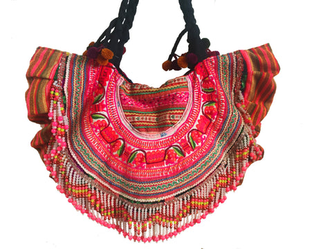 Pink and orange ibiza embroidered tribal beach tote