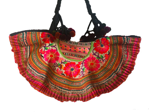 Orange ibiza embroidered tribal beach tote