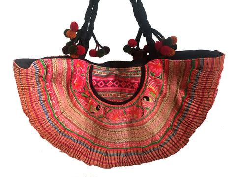 Pink ibiza embroidered tribal beach tote