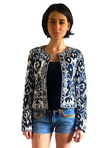 Ikat pattern black and blue boho blazer