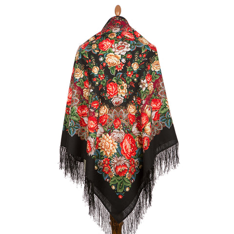 Extra large Clare shawl with silk knitted long fringe