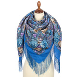 Large Brigitte piano shawl with silk knitted long fringe