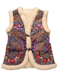 blue bohemian gilet with folk floral motif