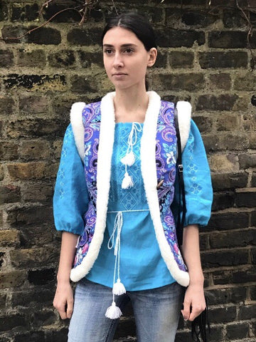 merino wool boho gilet with folk motif