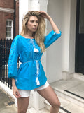 Turquoise linen embroidered mykonos top