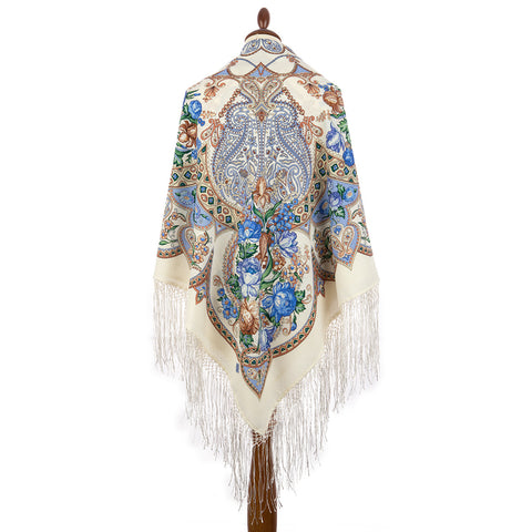 Extra large Dream Catcher piano shawl with silk knitted long fringe