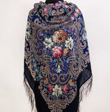 Large Sonya piano shawl with silk knitted long fringe