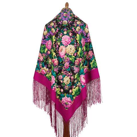 Unique extra large Amanda piano shawl with silk knitted long fringe