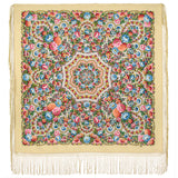 Extra large Maria piano shawl with silk knitted long fringe