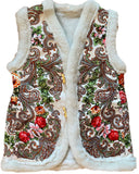 Christmas merino wool folk gilet