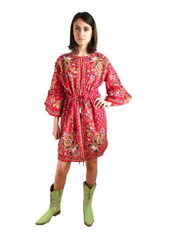 Festival boho red cotton batik kaftan jacket