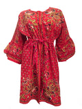 Festival boho peasant red cotton batik coat