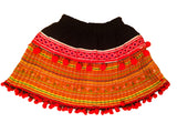 Children hmong pompom tribal skirt