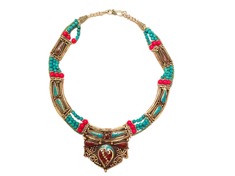 Vintage Tibetan tribal necklace with semi-precious stones