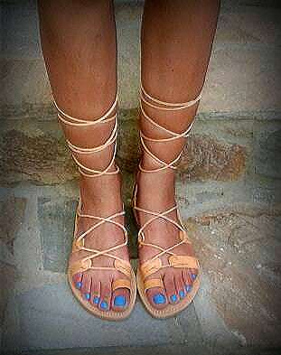 Handmade leather greek roman gladiator sandals