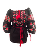 Ukrainian embroidered vyshyvanka black and red top