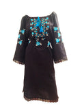 Ukrainian embroidered Vyshyvanka black and blue dress