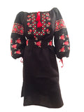 Ukrainian bohemian vyshyvanka linen black and red dress