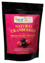 Load image into Gallery viewer, Dark Chocolate Covered Cranberries.  American Grown Cranberries.  Produced on the Sunshine Coast Australia. Naturally Gluten Free. 125 g chocolate