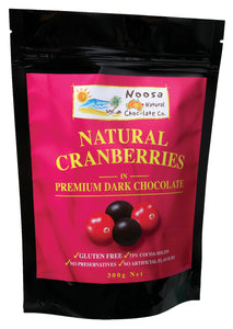Dark Chocolate Covered Cranberries.  American Grown Cranberries.  Produced on the Sunshine Coast Australia. Naturally Gluten Free. 125 g chocolate