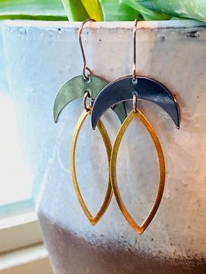 Silver & Gold Crescent Earrings