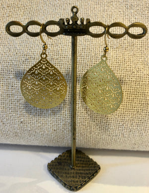 Textured Gold Oval Earrings