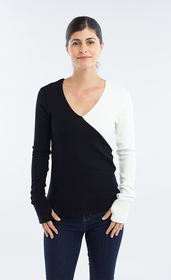 Asymmetrical Color-block Top