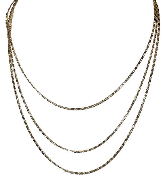 Triple Thin Strand Short Necklace