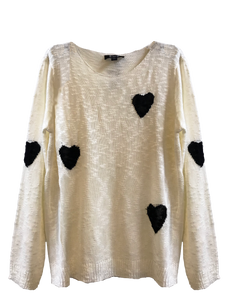 Black And White Heart Sweater