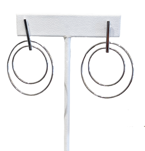 Double Circle Silver Earring