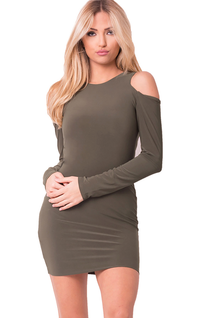 Kourtney Cold Shoulder Mini Dress - Wood