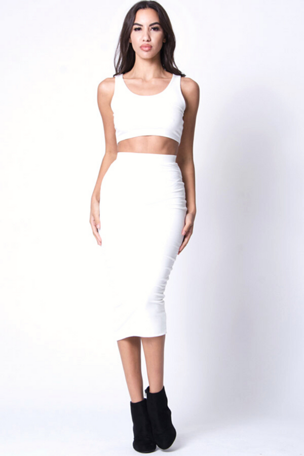 Denise Sleeveless Two-Piece Set - White
