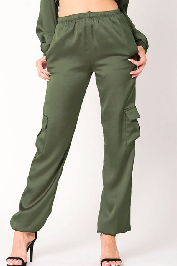 Lindsay Satin Jogger Set - Army Green