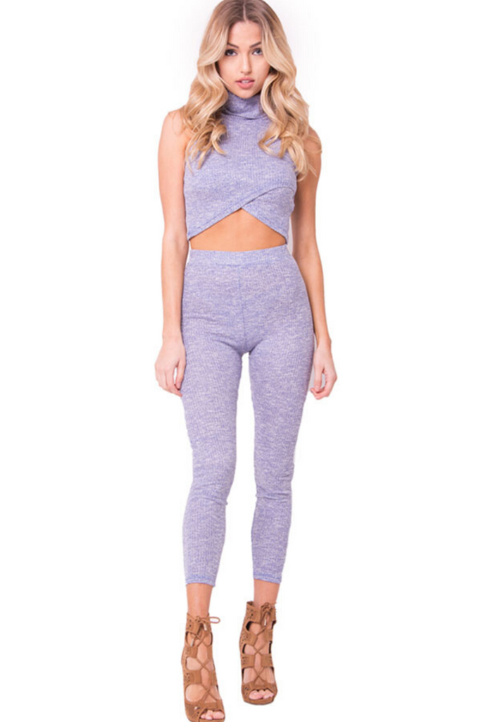 Andy Knit Crop Top - Lilac