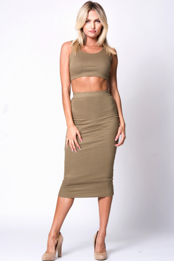 Denise Sleeveless Two-Piece Set - Olive