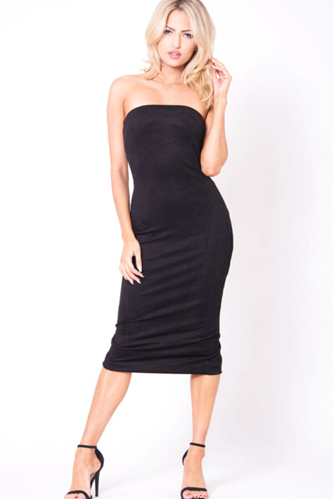 Marcella Strapless Midi Dress - Black