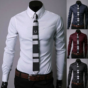 Men's Luxury Casual Formal Shirt Long Sleeve Slim Fit Business Dress Shirts Men's Tops