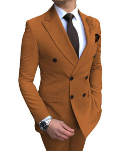 2020 New Beige  Suit 2 Pieces Double-breasted Notch Lapel Flat Slim Fit