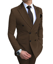Load image into Gallery viewer, 2020 New Beige  Suit 2 Pieces Double-breasted Notch Lapel Flat Slim Fit
