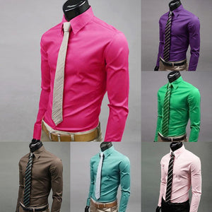 Newest Men Casual Solid Color Long Sleeve Button Down Shirt Slim Formal Business Top