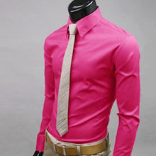 Load image into Gallery viewer, Newest Men Casual Solid Color Long Sleeve Button Down Shirt Slim Formal Business Top