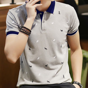 Men Fold-down Collar Deer Polo Shirt
