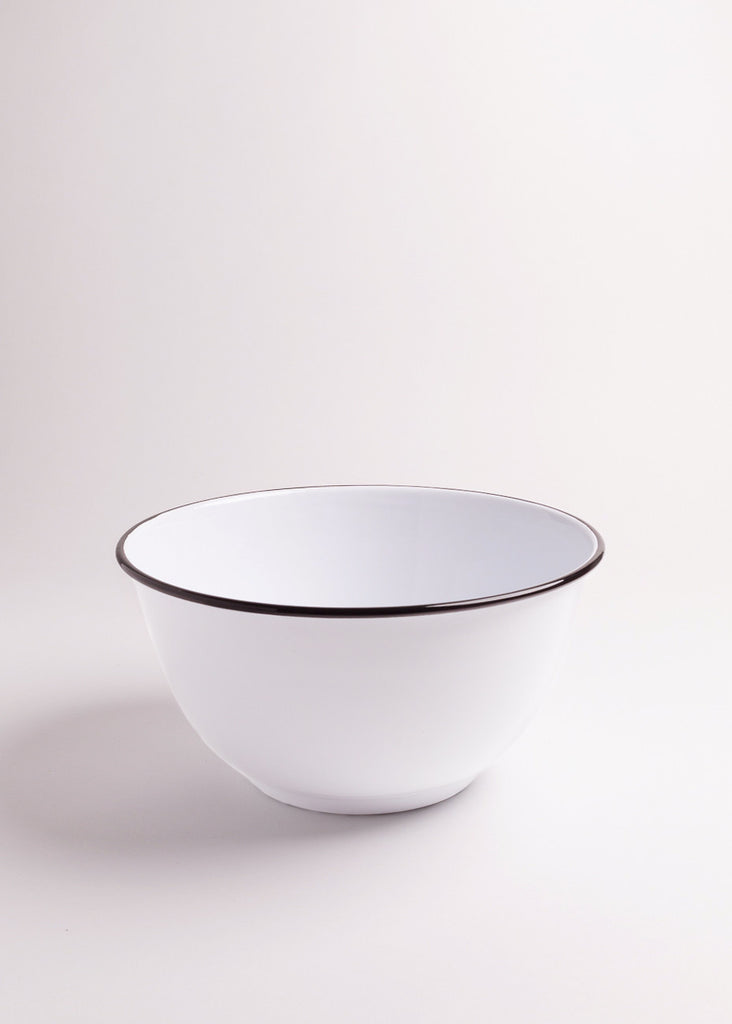 Large White and Black Salad Bowl - Eskell
