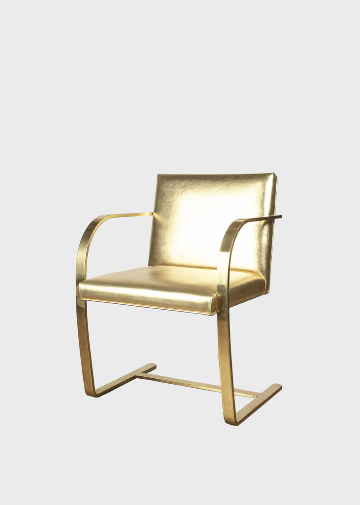 "Brass Guilded Mies van der Rohe ""Brno"" Chair - Eskell"