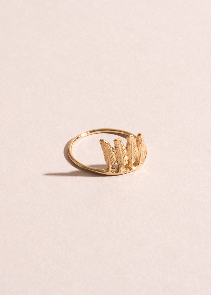 10k Gold Itty Bitty Feather Ring