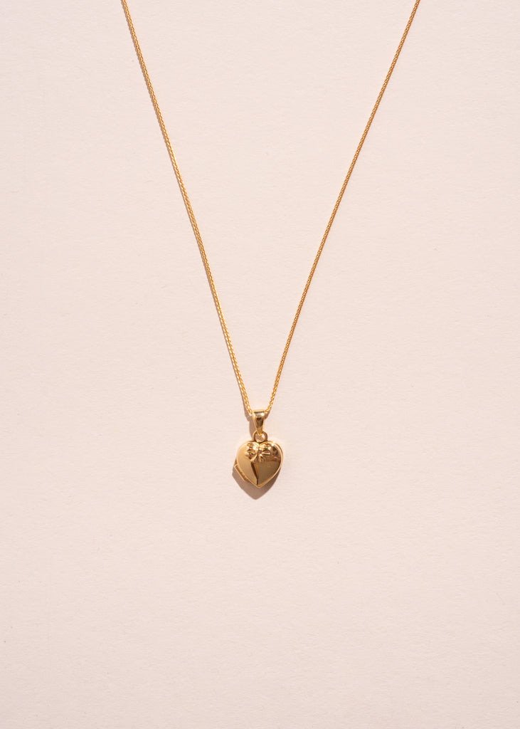 Gold Bow Locket Necklace