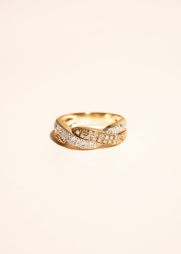 Vintage 14k Gold Diamond Pavé Twist Ring